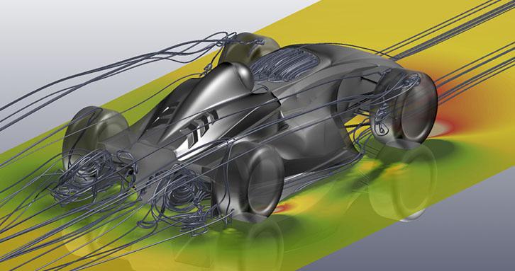 案例4:流线显示出了方程式赛车尾部的涡旋结构